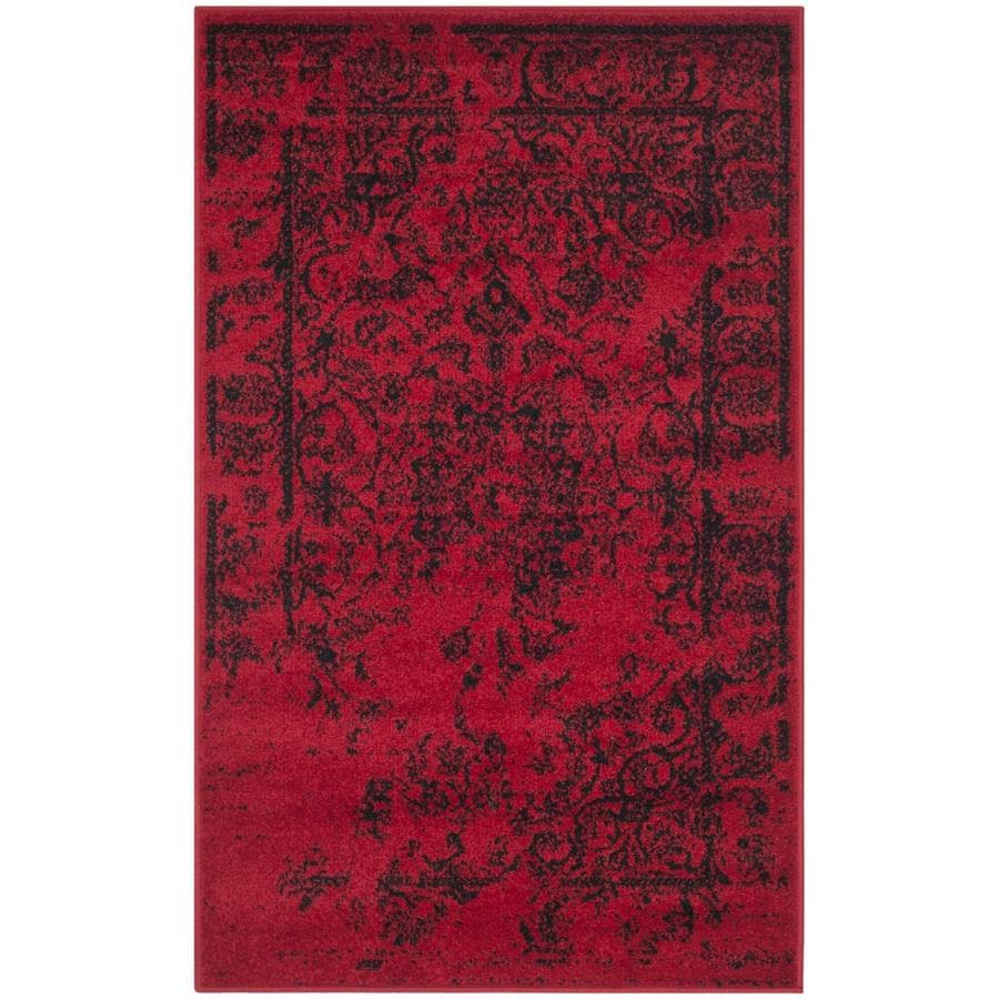 Safavieh Adirondack Plaza Red/Black Rectangular Indoor Machine-made Lodge Throw Rug (Common: 3 x 5; Actual: 3-ft W x 5-ft L)