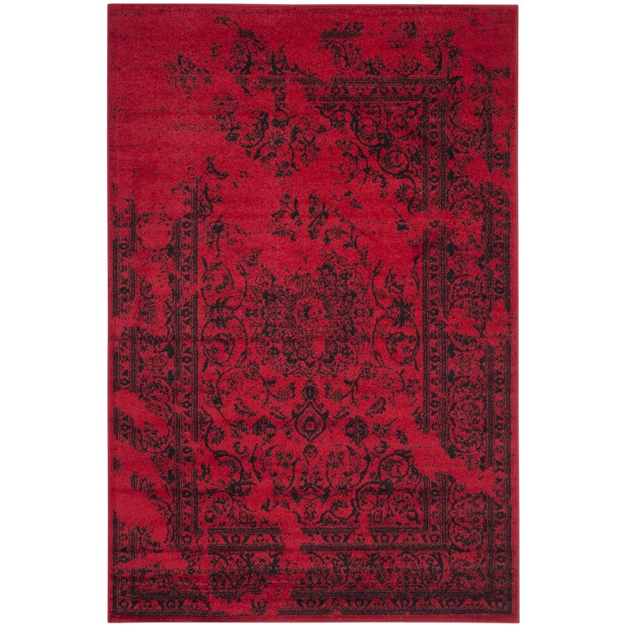Safavieh Adirondack Plaza Red/Black Rectangular Indoor Machine-made Lodge Area Rug (Common: 4 x 6; Actual: 4-ft W x 6-ft L)