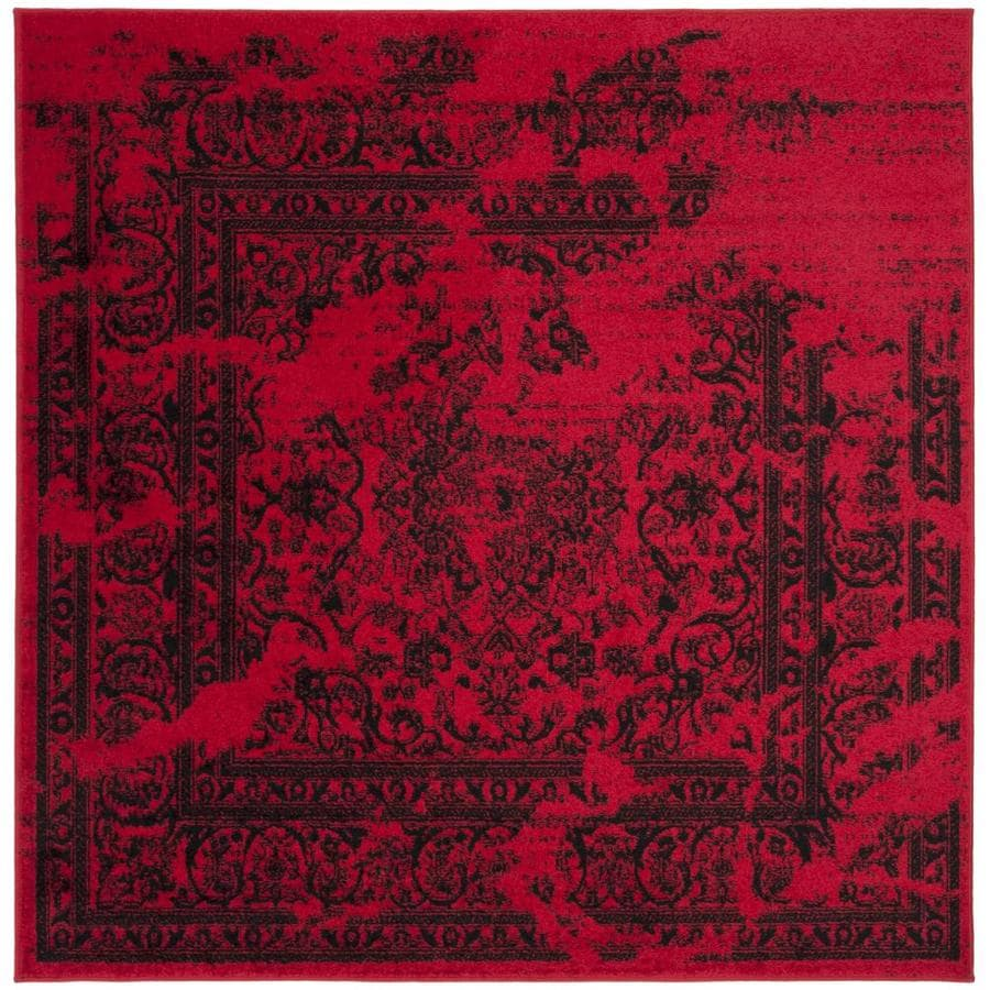 Safavieh Adirondack Red/Black Square Indoor Machine-Made Lodge Area Rug (Common: 6 x 6; Actual: 6-ft W x 6-ft L)