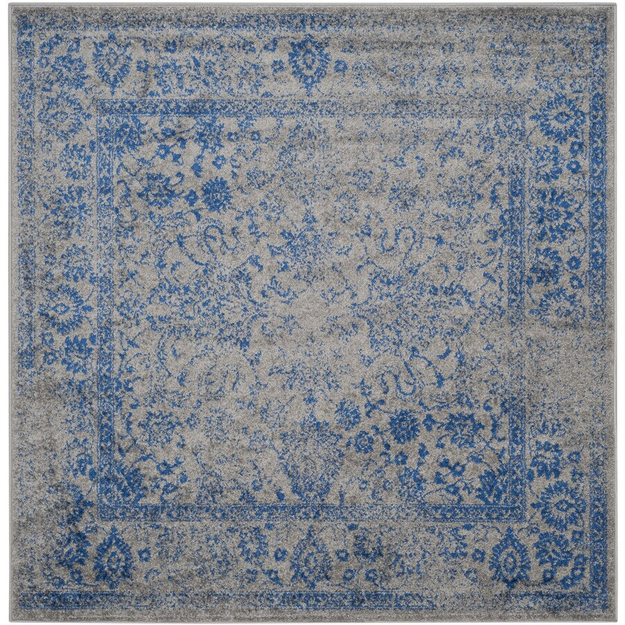 Safavieh Adirondack Kashan Gray/Blue Square Indoor Machine-Made Lodge Area Rug (Common: 6 x 6; Actual: 6-ft W x 6-ft L)