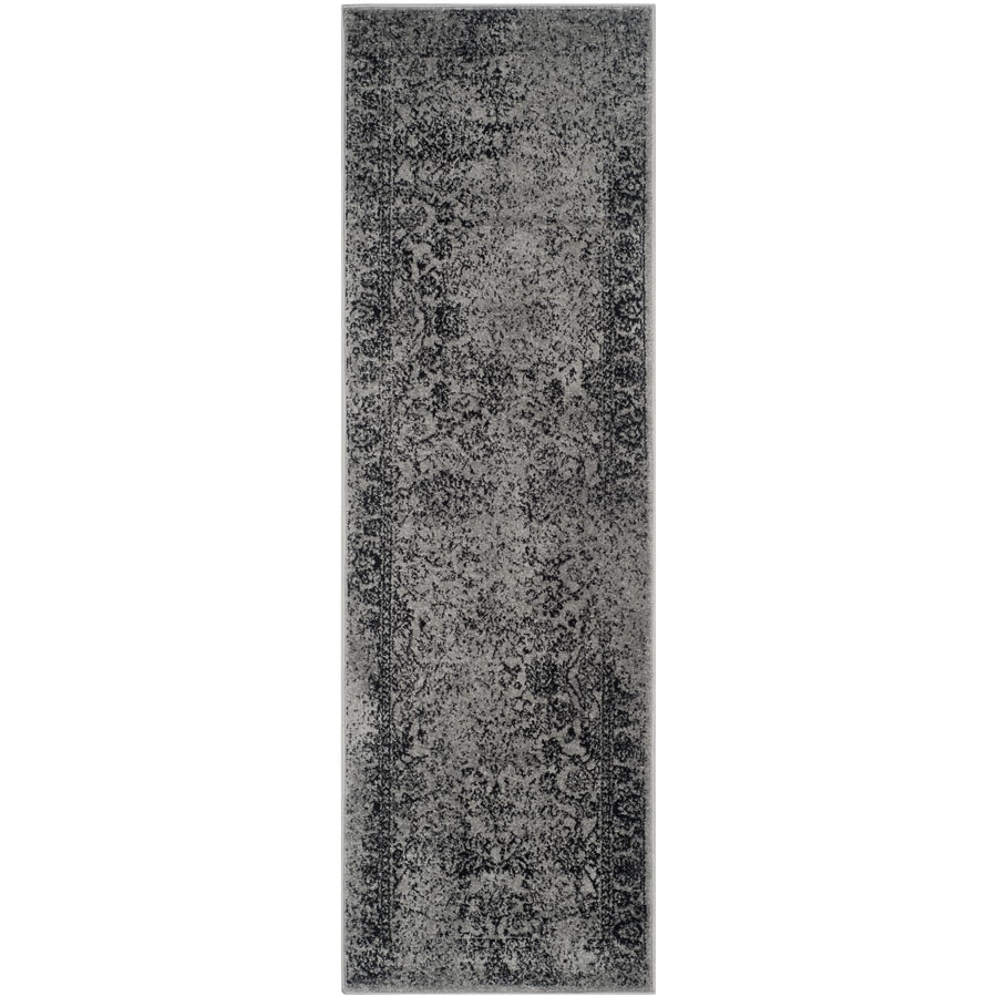 Safavieh Adirondack Kashan Gray/Black Rectangular Indoor Machine-made Lodge Runner (Common: 2 x 10; Actual: 2.5-ft W x 10-ft L)