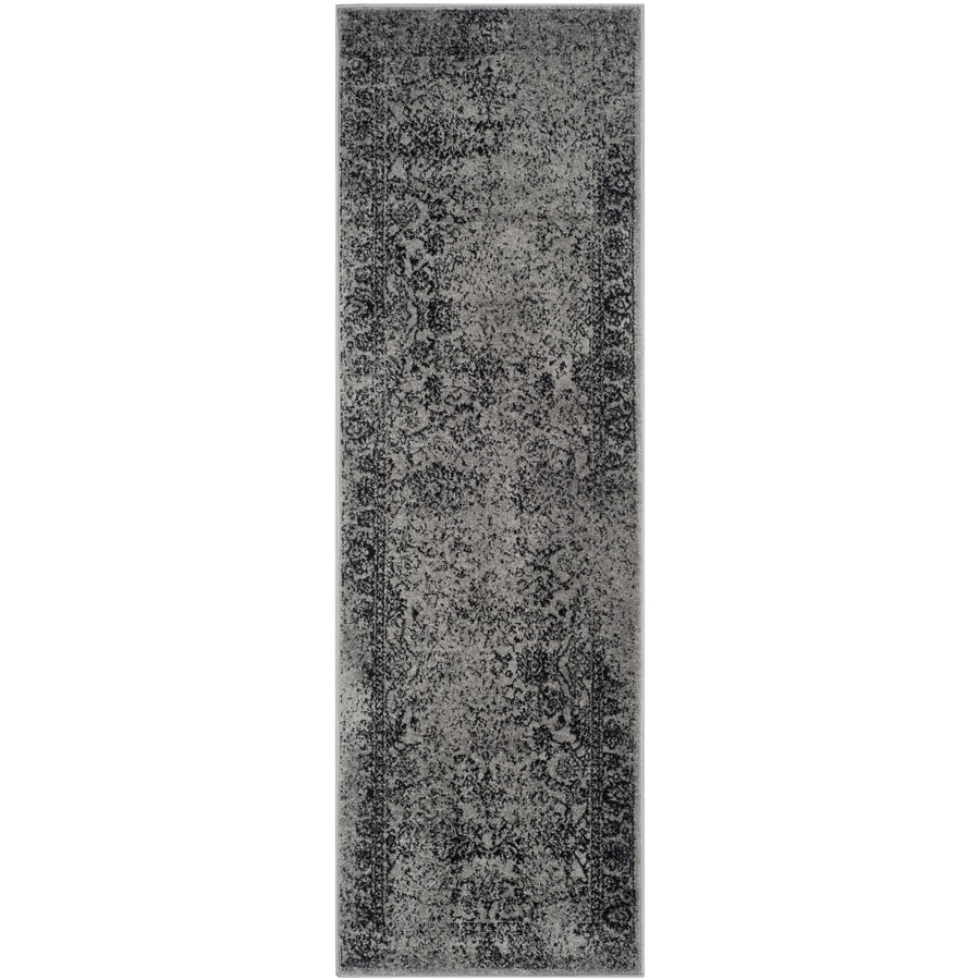 Safavieh Adirondack Kashan Gray/Black Rectangular Indoor Machine-made Lodge Runner (Common: 2 x 12; Actual: 2.5-ft W x 12-ft L)