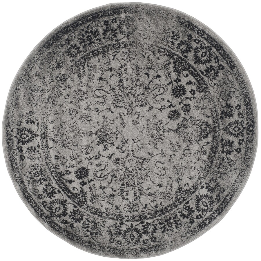 Safavieh Adirondack Grey/Black Round Indoor Machine-Made Area Rug (Common: 4 x 4; Actual: 4-ft dia)