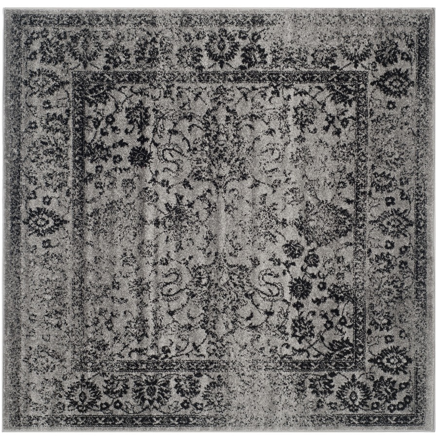 Safavieh Adirondack Kashan Gray/Black Square Indoor Machine-made Lodge Area Rug (Common: 8 x 8; Actual: 8-ft W x 8-ft L)