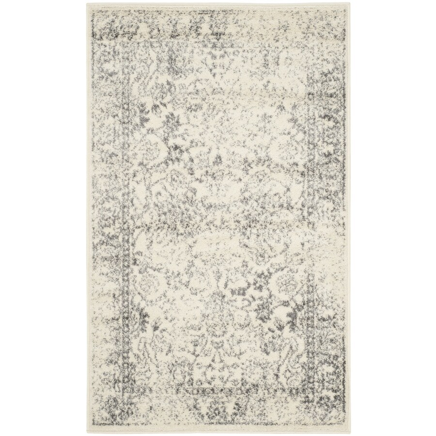 Safavieh Adirondack Kashan Ivory/Silver Rectangular Indoor Machine-made Lodge Throw Rug (Common: 3 x 5; Actual: 3-ft W x 5-ft L)