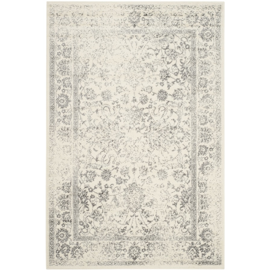 Safavieh Adirondack Kashan Ivory/Silver Rectangular Indoor Machine-made Lodge Area Rug (Common: 6 x 9; Actual: 6-ft W x 9-ft L)