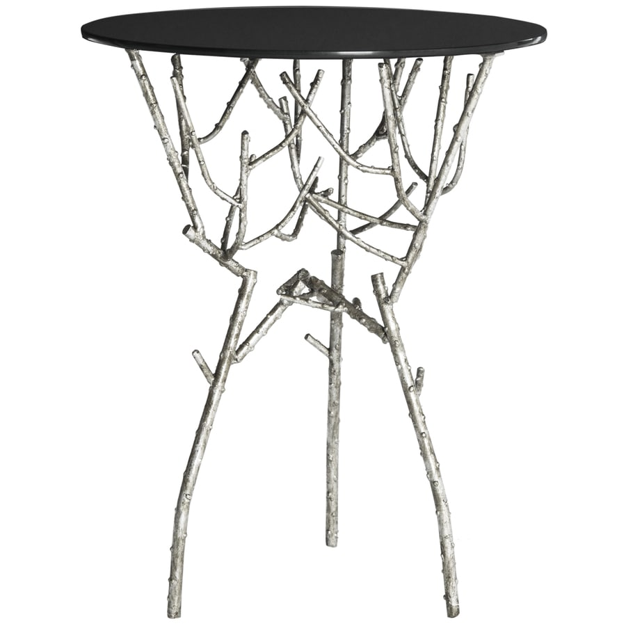 Safavieh Fox Silver/Black Glass Top Round End Table