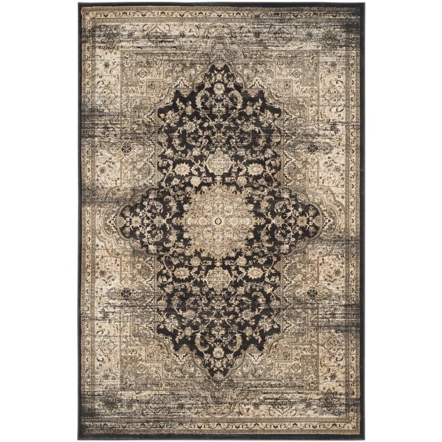 Safavieh Vintage Bijar Black/Ivory Indoor Distressed Area Rug (Common: 4 x 6; Actual: 4-ft W x 5.6-ft L)