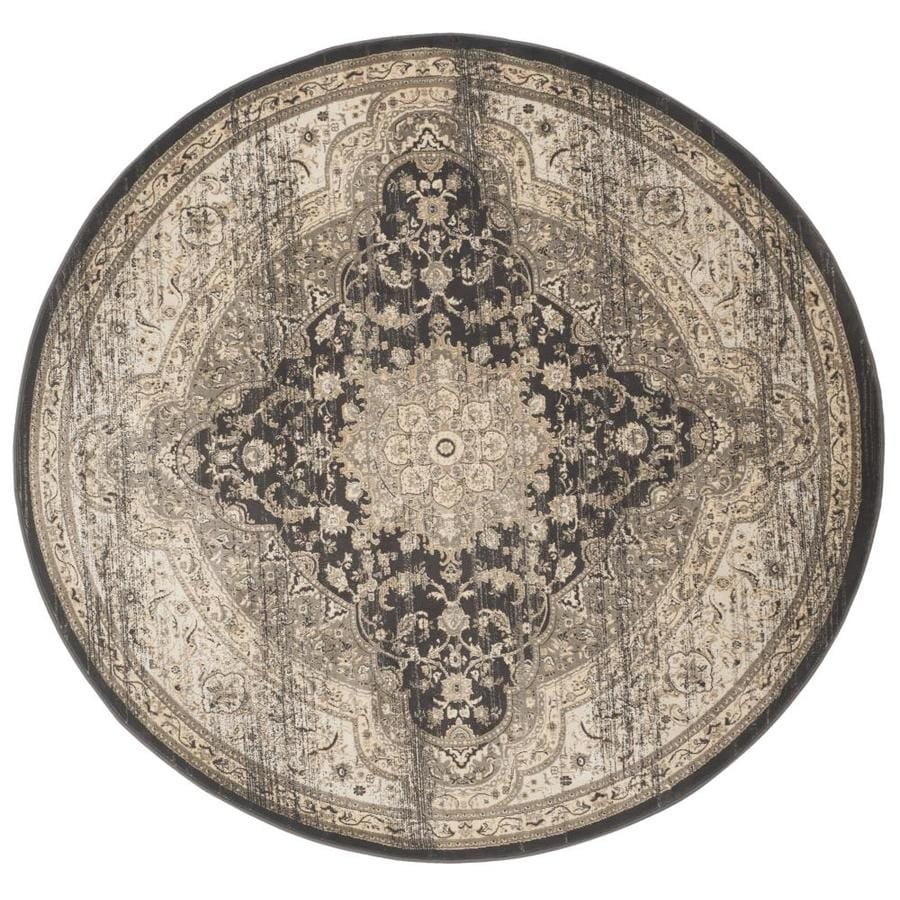 Safavieh Vintage Black/Ivory Round Indoor Machine-Made Distressed Area Rug (Common: 6 x 6; Actual: 6.583-ft W x 6.583-ft L x 6.583-ft Dia)