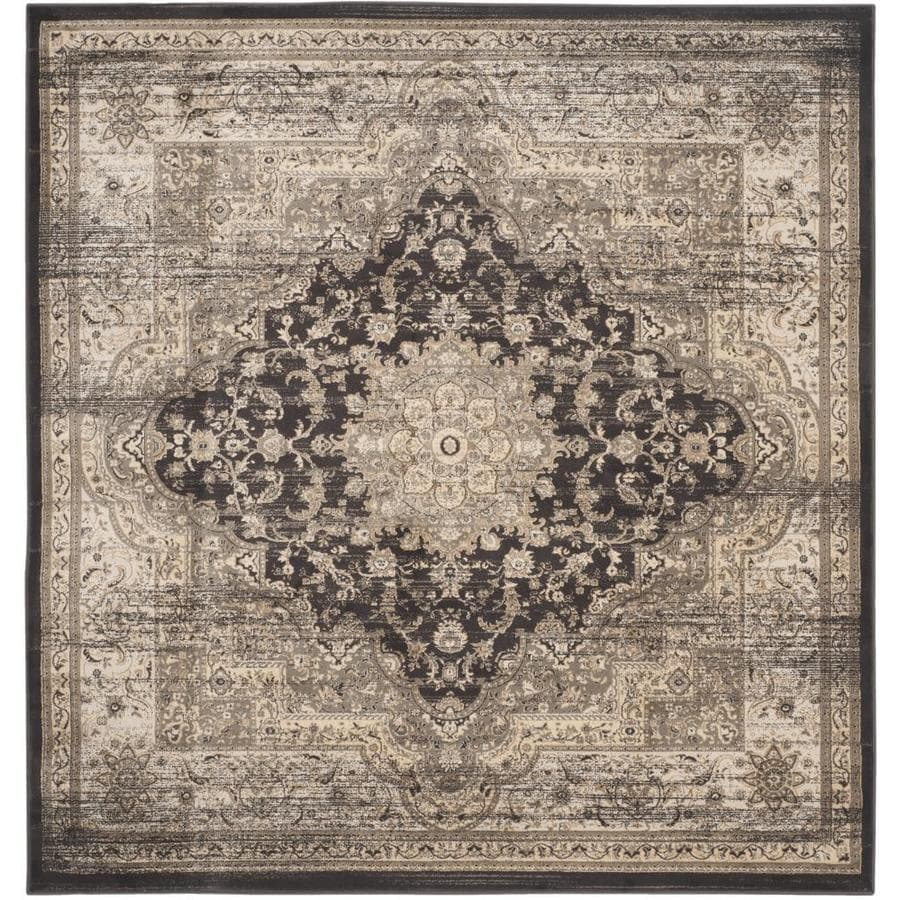 Safavieh Vintage Bijar Black/Ivory Square Indoor Machine-made Distressed Area Rug (Common: 6 x 6; Actual: 6.6-ft W x 6.6-ft L)