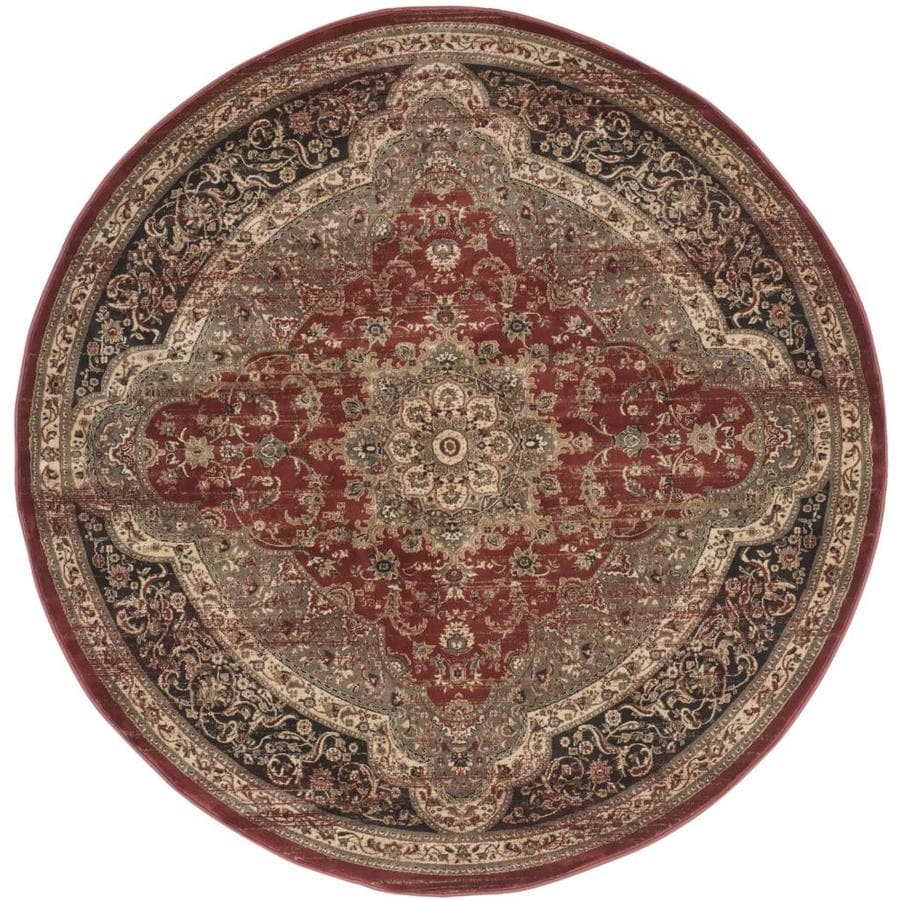 Safavieh Vintage Rust/Black Round Indoor Machine-Made Distressed Area Rug (Common: 6 x 6; Actual: 6.583-ft W x 6.583-ft L x 6.583-ft Dia)