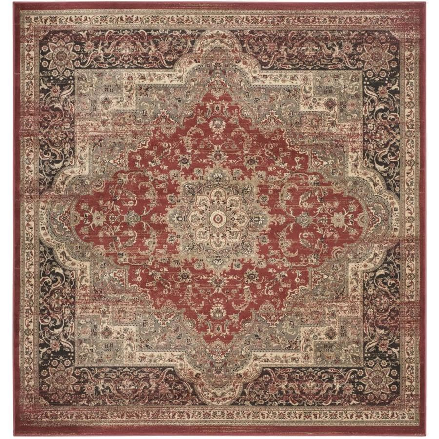 Safavieh Vintage Bijar Rust/Black Square Indoor Distressed Area Rug (Common: 7 x 7; Actual: 6.7-ft W x 6.6-ft L)