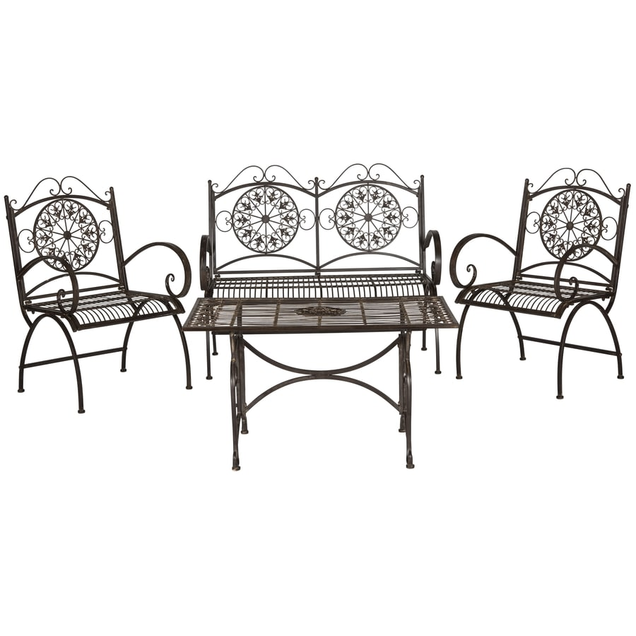 Safavieh Patio 4-Piece Iron Patio Conversation Set