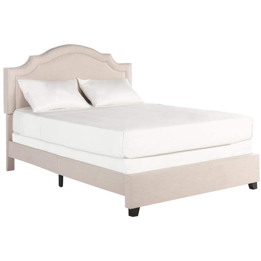 Shop Safavieh Theron Light Beige/Brass Nailheads Queen Bed Frame at ...