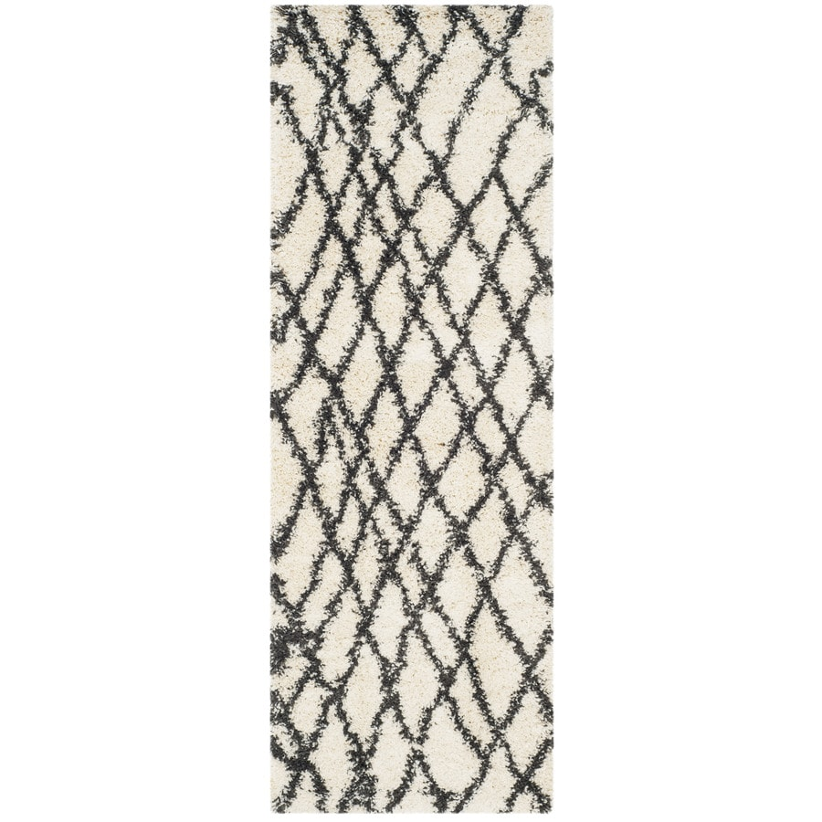 Safavieh Belize Shag Ivory/Charcoal Rectangular Indoor Machine-Made Moroccan Runner (Common: 2.3 x 9; Actual: 2.25-ft W x 9-ft L)