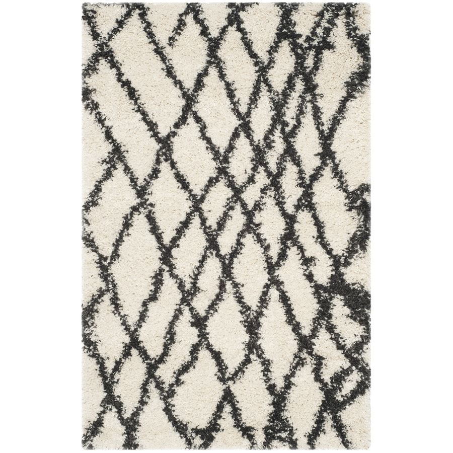 Safavieh Belize Shag Ivory/Charcoal Rectangular Indoor Machine-Made Moroccan Throw Rug (Common: 3 x 5; Actual: 3-ft W x 5-ft L)