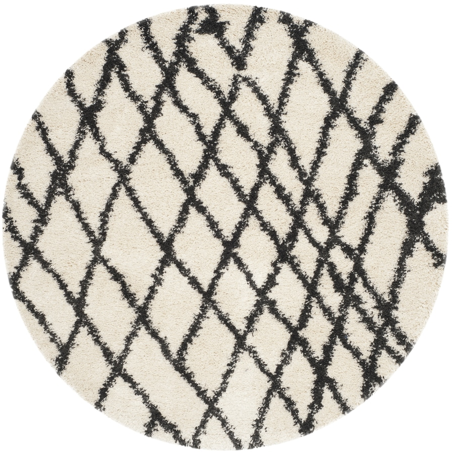 Safavieh Belize Shag Ivory/Charcoal Round Indoor Machine-Made Moroccan Area Rug (Common: 6 x 6; Actual: 6.583-ft W x 6.583-ft L x 6.583-ft dia)