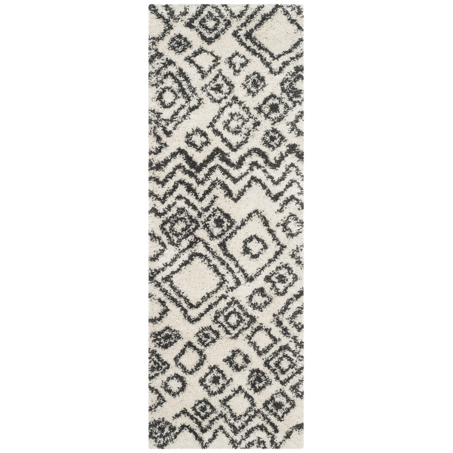 Safavieh Belize Lakin Shag Ivory/Charcoal Rectangular Indoor Machine-made Moroccan Runner (Common: 2 x 9; Actual: 2.25-ft W x 9-ft L)