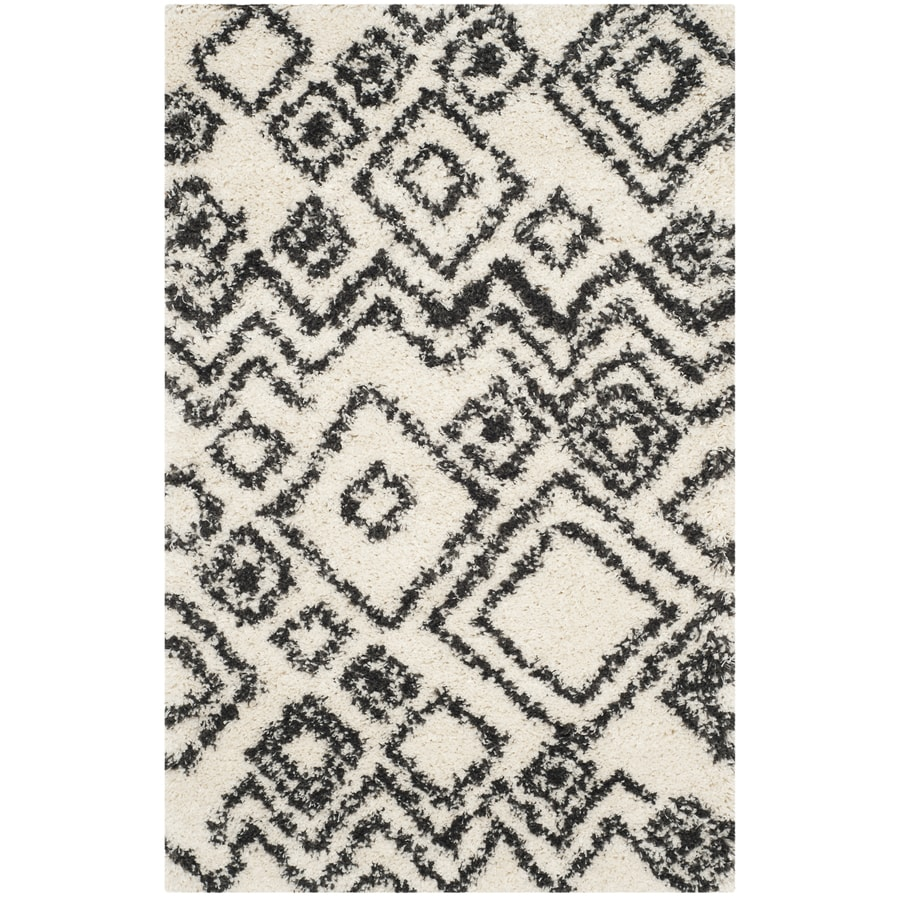 Safavieh Belize Lakin Shag Ivory/Charcoal Rectangular Indoor Machine-made Moroccan Throw Rug (Common: 3 x 5; Actual: 3-ft W x 5-ft L)