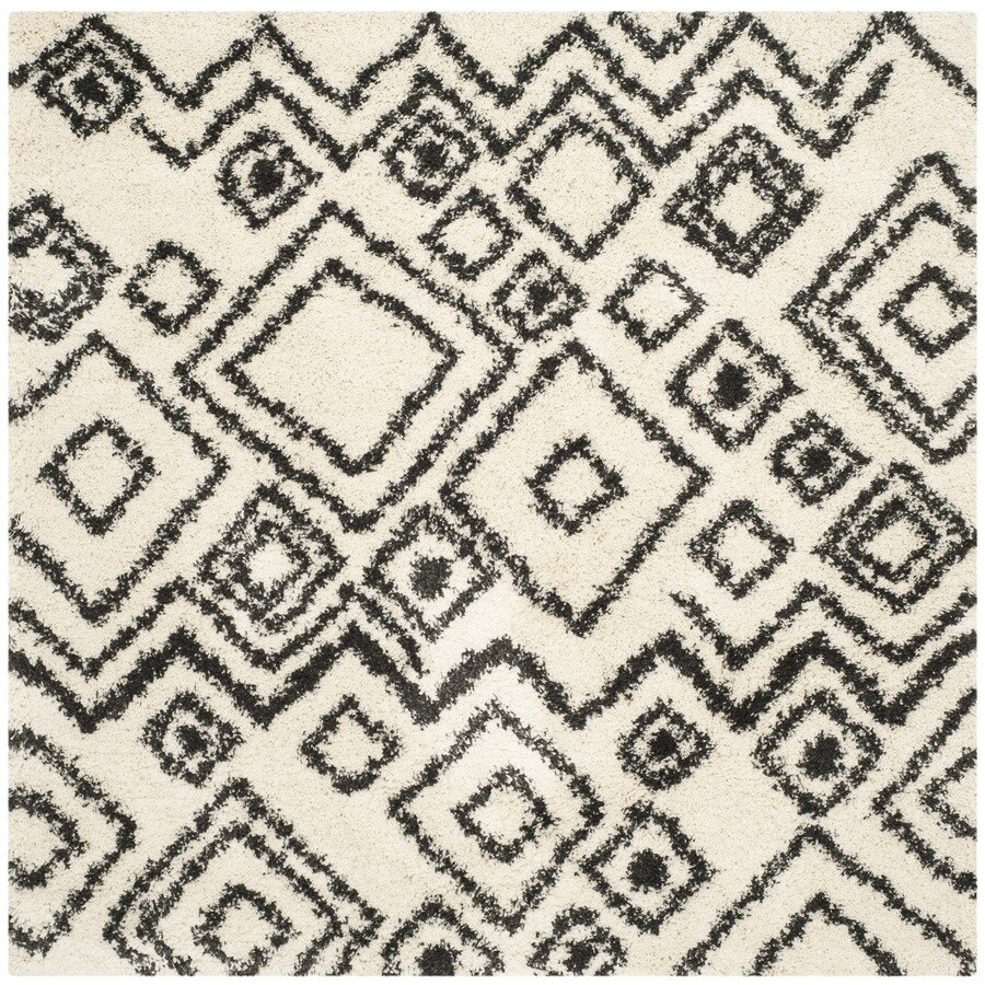 Safavieh Belize Shag Ivory/Charcoal Square Indoor Machine-Made Area Rug