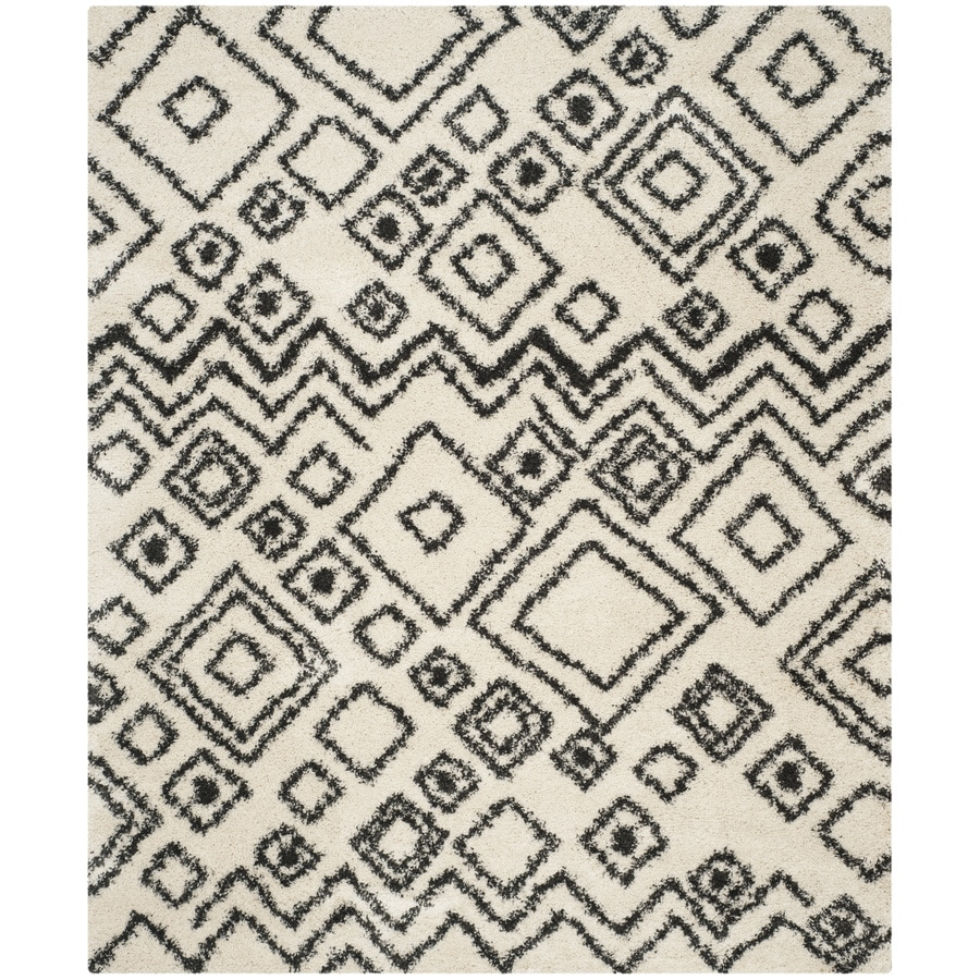 Safavieh Belize Shag Ivory/Charcoal Rectangular Indoor Machine-Made Moroccan Area Rug (Common: 8 x 12; Actual: 8.5-ft W x 12-ft L)