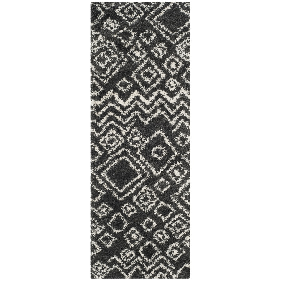Safavieh Belize Lakin Shag Charcoal/Ivory Rectangular Indoor Machine-made Moroccan Runner (Common: 2 x 7; Actual: 2.25-ft W x 7-ft L)