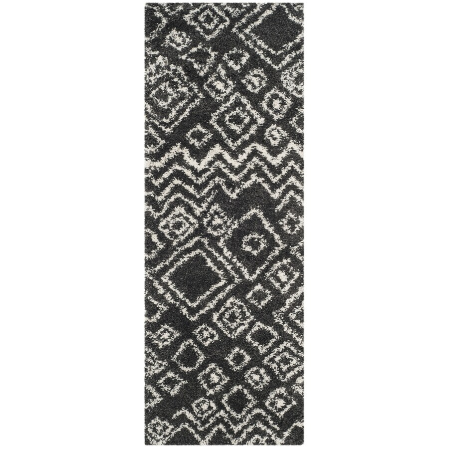 Safavieh Belize Lakin Shag Charcoal/Ivory Indoor Moroccan Runner (Common: 2 x 9; Actual: 2.25-ft W x 9-ft L)