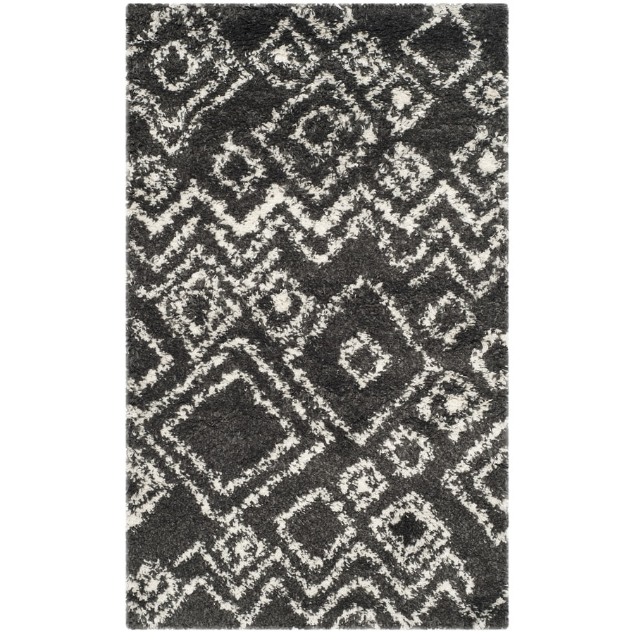 Safavieh Belize Lakin Shag Charcoal/Ivory Rectangular Indoor Machine-made Moroccan Throw Rug (Common: 3 x 5; Actual: 3-ft W x 5-ft L)