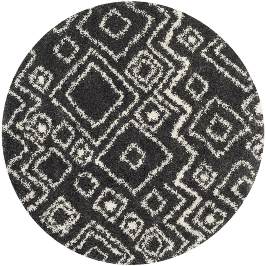 Safavieh Belize Lakin Shag Charcoal/Ivory Round Indoor Machine-made Moroccan Area Rug (Common: 6 x 6; Actual: 6.6-ft W x 6.6-ft L x 6.6-ft Dia)