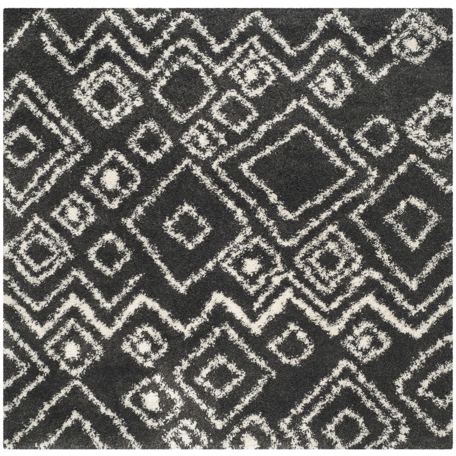 Safavieh Belize Lakin Shag Charcoal/Ivory Square Indoor Machine-made Moroccan Area Rug (Common: 6 x 6; Actual: 6.6-ft W x 6.6-ft L)