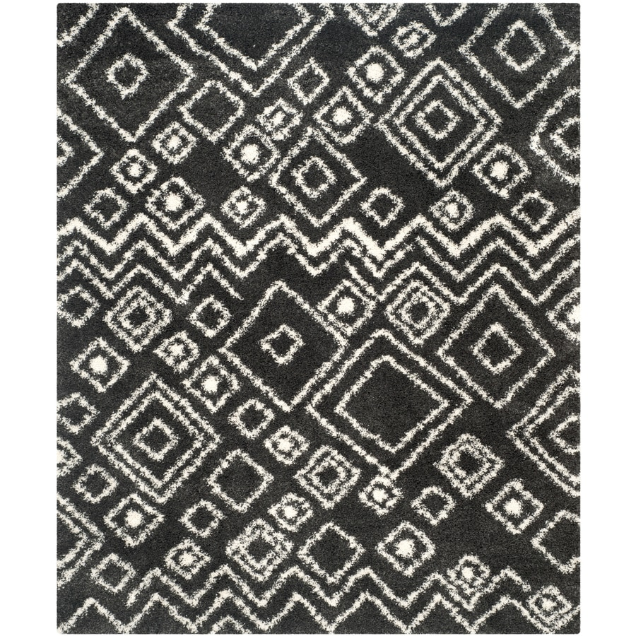Safavieh Belize Shag Charcoal/Ivory Rectangular Indoor Machine-Made Moroccan Area Rug (Common: 8 x 12; Actual: 8.5-ft W x 12-ft L)