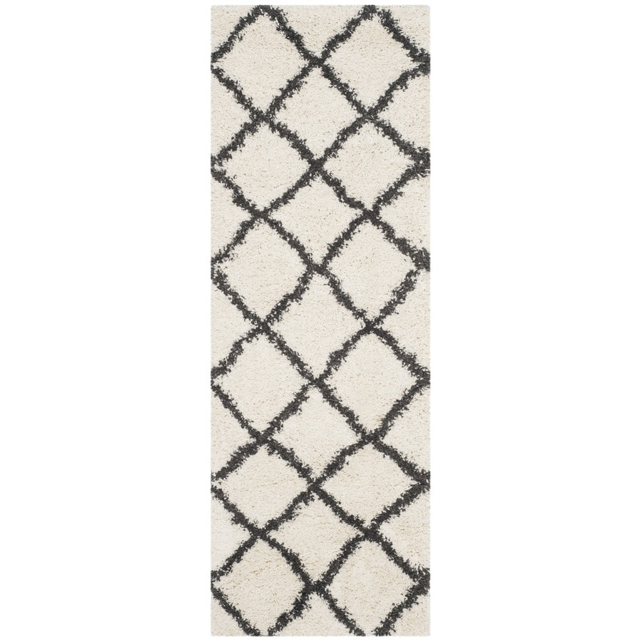 Safavieh Belize Denby Shag Ivory/Charcoal Rectangular Indoor Machine-made Moroccan Runner (Common: 2 x 9; Actual: 2.25-ft W x 9-ft L)
