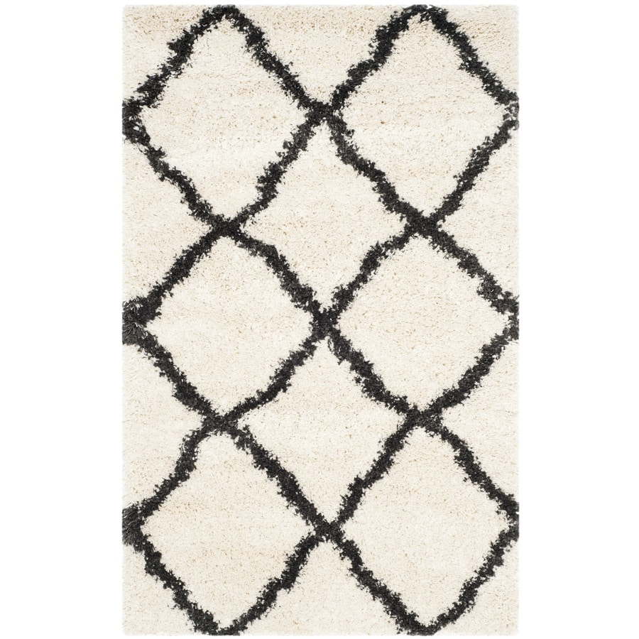Safavieh Belize Denby Shag Ivory/Charcoal Indoor Moroccan Throw Rug (Common: 3 x 5; Actual: 3-ft W x 5-ft L)