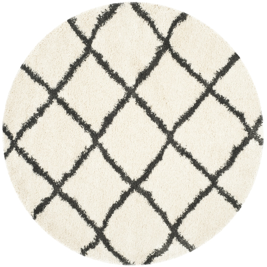 Safavieh Belize Denby Shag Ivory/Charcoal Round Indoor Machine-made Moroccan Area Rug (Common: 6 x 6; Actual: 6.6-ft W x 6.6-ft L x 6.6-ft Dia)