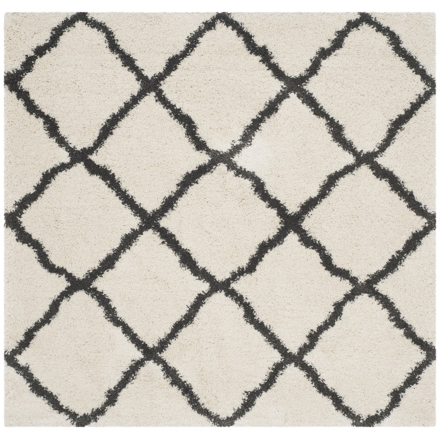 Safavieh Belize Denby Shag Ivory/Charcoal Square Indoor Moroccan Area Rug (Common: 7 x 7; Actual: 6.7-ft W x 6.6-ft L)