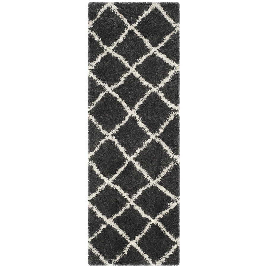 Safavieh Belize Denby Shag Charcoal/Ivory Rectangular Indoor Machine-made Moroccan Runner (Common: 2 x 7; Actual: 2.25-ft W x 7-ft L)
