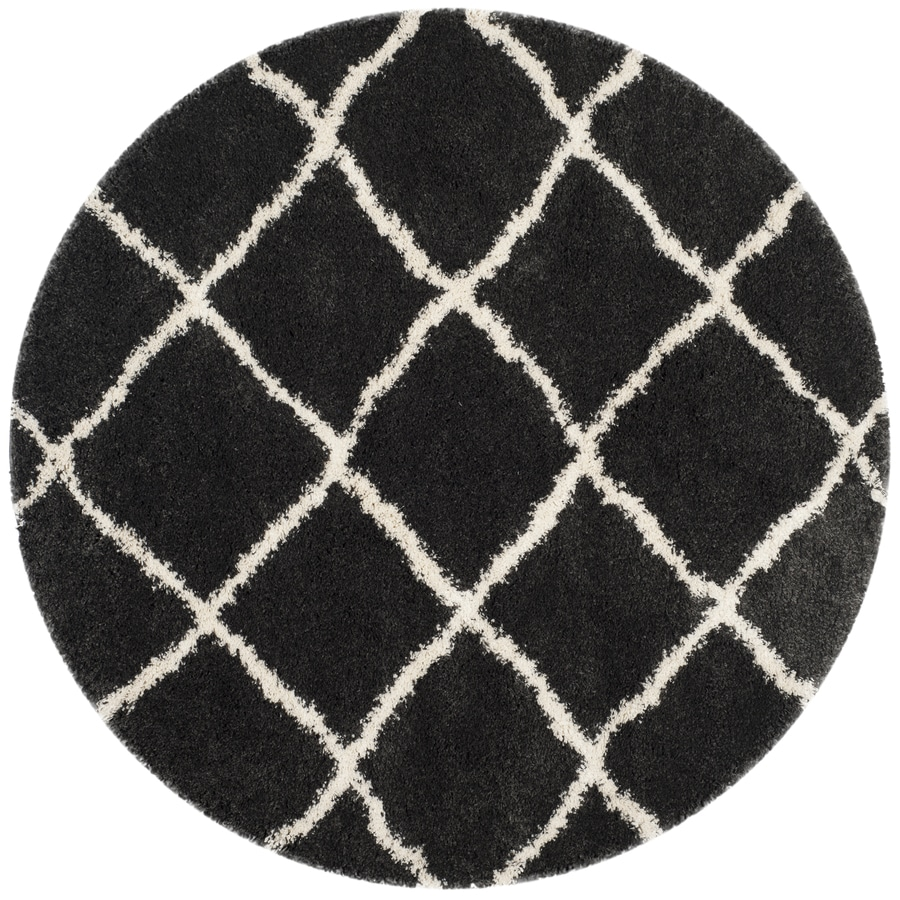 Safavieh Belize Denby Shag Charcoal/Ivory Round Indoor Machine-made Moroccan Area Rug (Common: 6 x 6; Actual: 6.6-ft W x 6.6-ft L x 6.6-ft Dia)