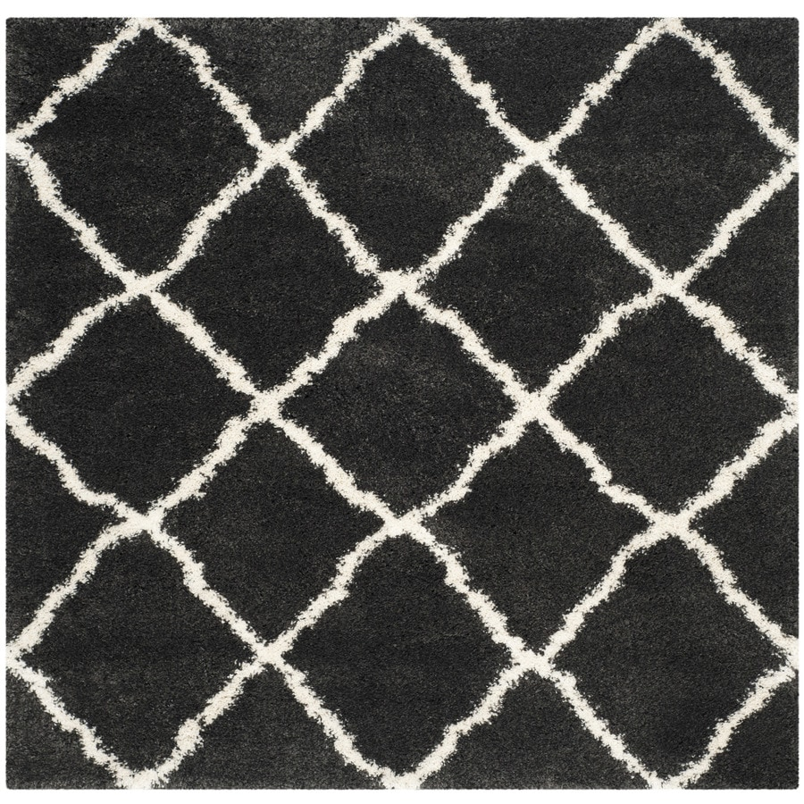 Safavieh Belize Shag Charcoal/Ivory Square Indoor Machine-Made Area Rug