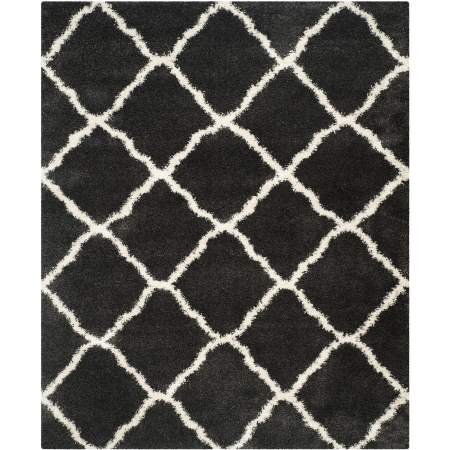 Safavieh Belize Denby Shag Charcoal/Ivory Rectangular Indoor Machine-made Moroccan Area Rug (Common: 8 x 12; Actual: 8.5-ft W x 12-ft L)