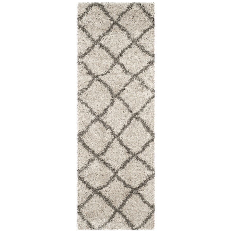 Safavieh Belize Denby Shag Taupe/Gray Rectangular Indoor Machine-made Moroccan Runner (Common: 2 x 9; Actual: 2.25-ft W x 9-ft L)