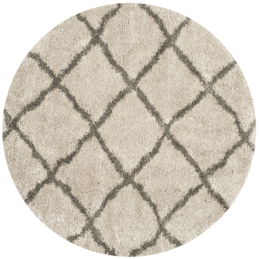 Safavieh Belize Shag Taupe/Gray Round Indoor Machine-Made Moroccan Area Rug (Common: 6 x 6; Actual: 6.583-ft W x 6.583-ft L x 6.583-ft Dia)