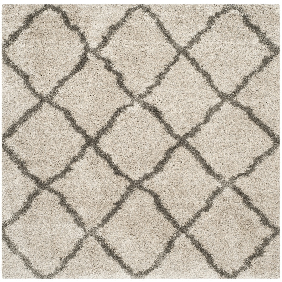 Safavieh Belize Denby Shag Taupe/Gray Square Indoor Machine-made Moroccan Area Rug (Common: 6 x 6; Actual: 6.6-ft W x 6.6-ft L)