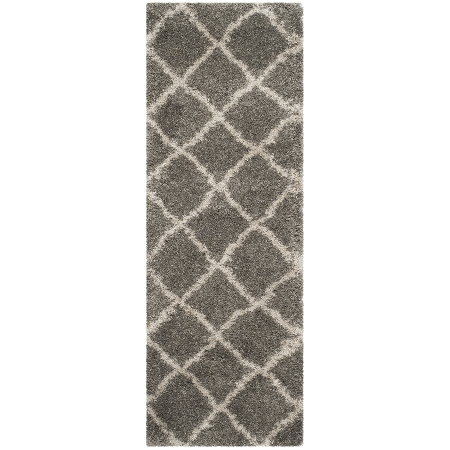 Safavieh Belize Shag Gray/Taupe Rectangular Indoor Machine-Made Moroccan Runner (Common: 2 x 9; Actual: 2.25-ft W x 9-ft L x 0-ft Dia)