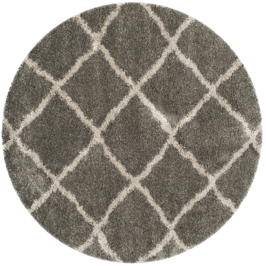 Safavieh Belize Denby Shag Gray/Taupe Round Indoor Machine-made Moroccan Area Rug (Common: 6 x 6; Actual: 6.6-ft W x 6.6-ft L x 6.6-ft dia)