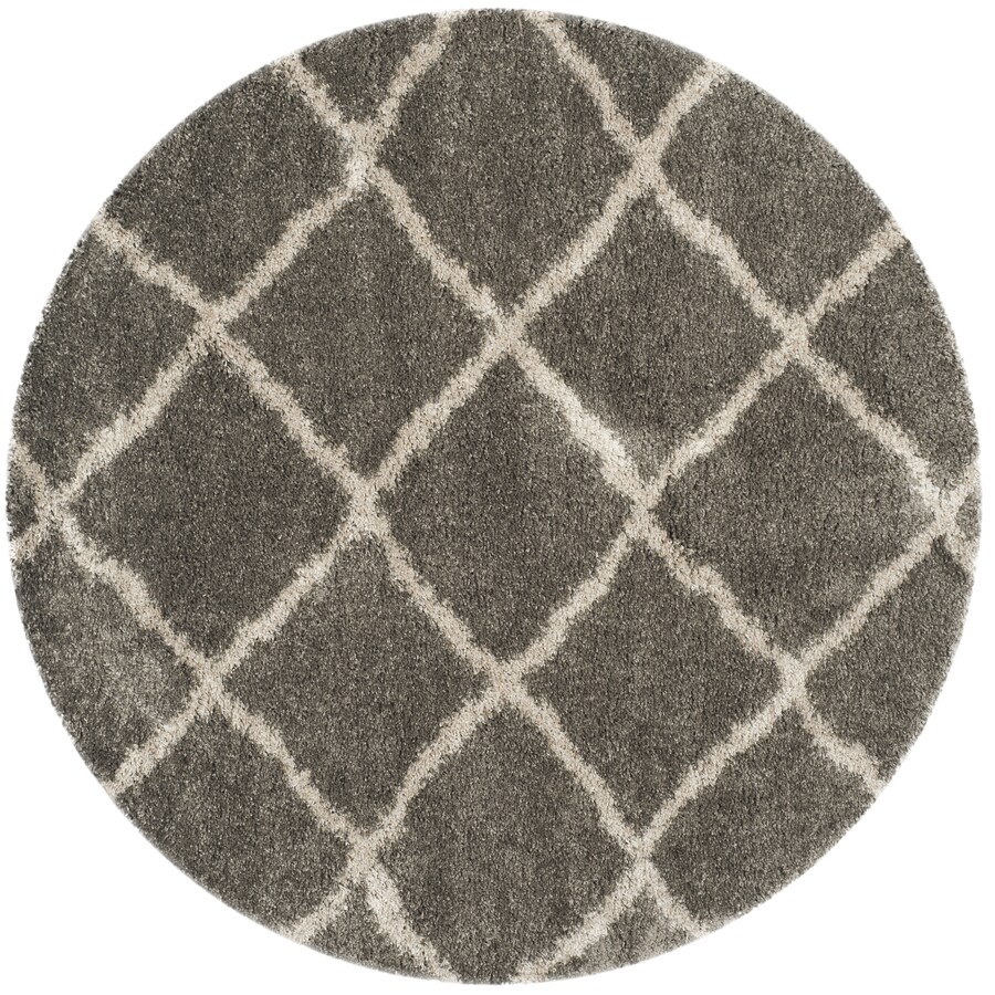 Safavieh Belize Denby Shag Gray/Taupe Round Indoor Moroccan Area Rug (Common: 7 x 7; Actual: 6.7-ft W x 6.6-ft L x 6.6-ft dia)