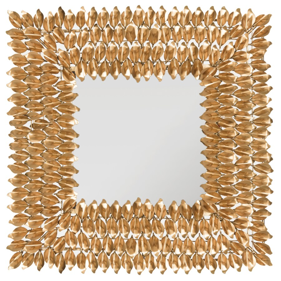 Safavieh 25-in x 25-in Antique Gold Polished Square Framed Contemporary Wall Mirror