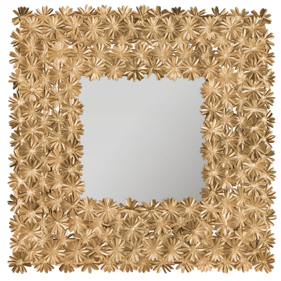 Safavieh Crown Daisy Antique Gold Polished Square Wall Mirror