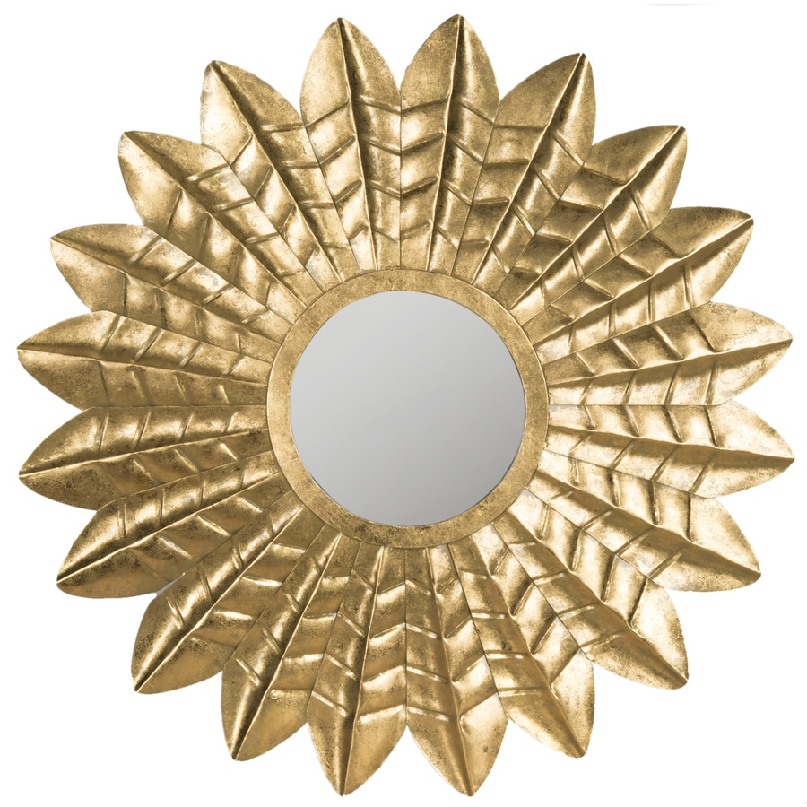 Safavieh Deco Leaf Antique Gold Polished Round Wall Mirror