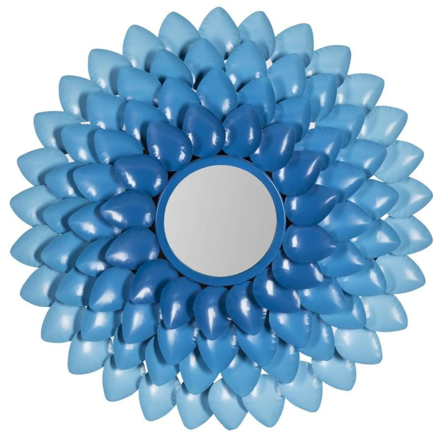 Safavieh 27-in x 27-in Blue Polished Round Framed Sunburst Wall Mirror