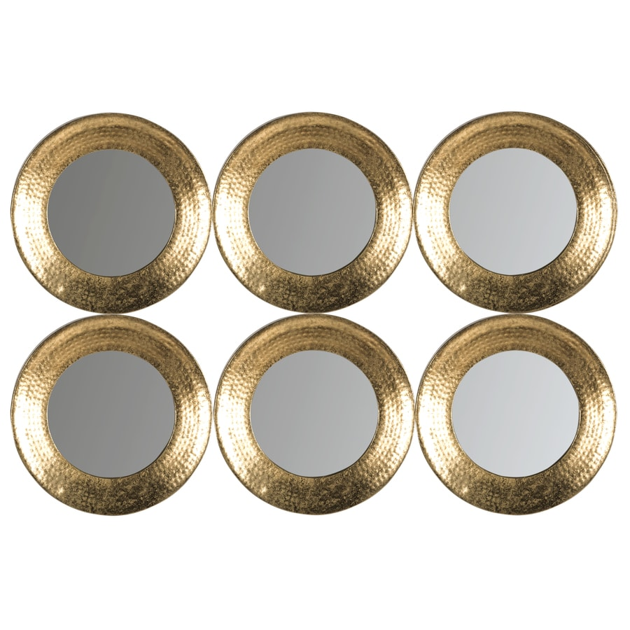 Safavieh 24-in x 35-in Gold Polished Round Framed Contemporary Wall Mirror